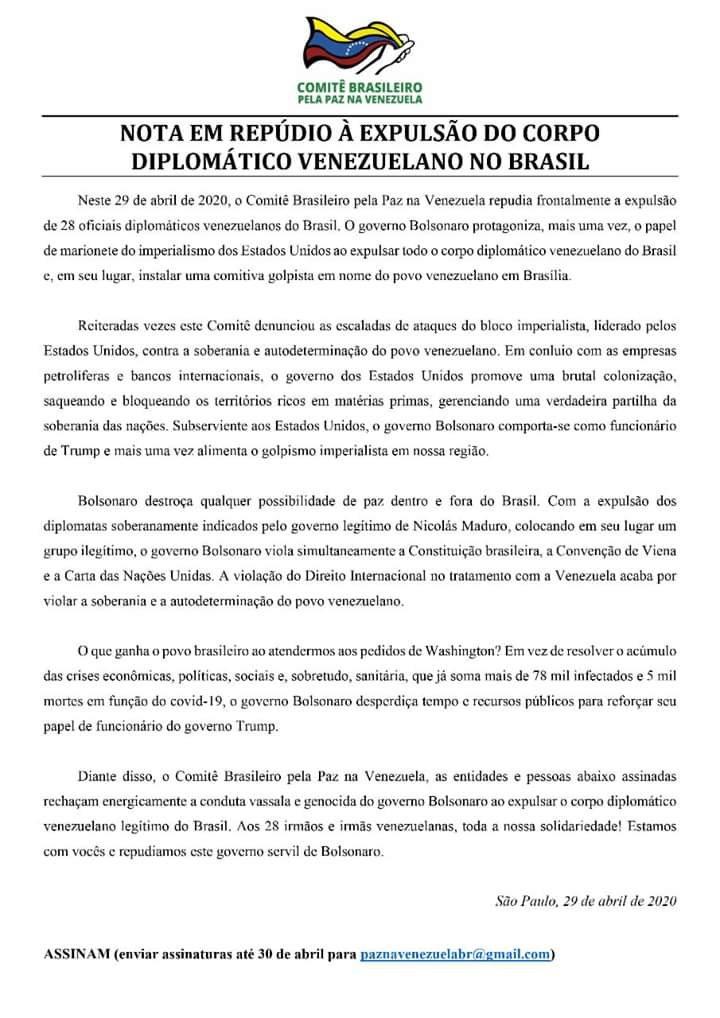 Nota em repúdio à expulsão do corpo diplomático venezuelano no Brasil
