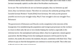 Juventude Socialista Alemã dos Trabalhadores: Fora Bolsonaro! Solidariedade com a resistência no Brasil!
